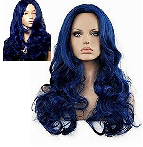 Diy-Wig Long Body Wavy Curly Blue Wig for Women Center Party No Bangs Cosplay Synthetic Hair Replacement Full Wig]()