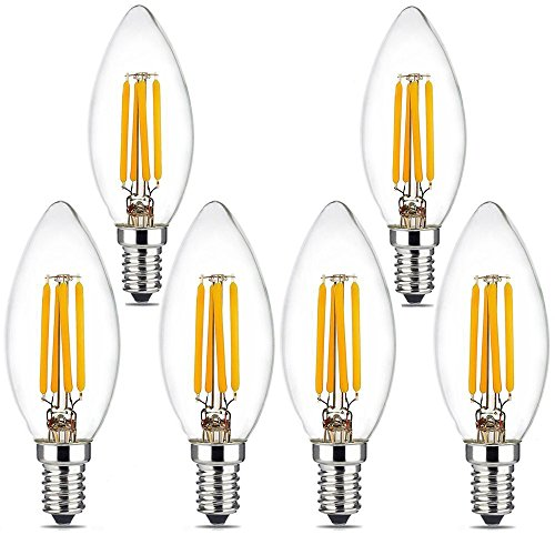 BRIMAX LED Candelabra Bulbs, 4W 2700K Warm White Candle Light Bulbs, 380LM E12 Base Chandelier LED Bulbs, C35 Torpedo Shape Filament Bulb, 25W-40W Equivalent, Indoor&Outdoor Vintage Bulb-6Pack