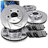 2009 pontiac g8 brake rotors - For 2008-2009 Pontiac G8 Front Rear Rear Slotted Brake Rotors+Ceramic Brake Pads
