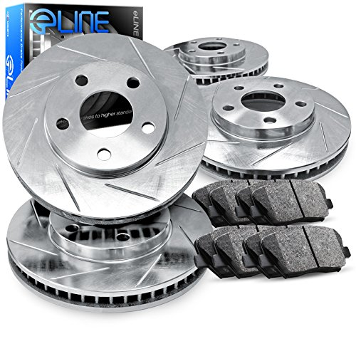 For 2005-2009 Legacy Full Kit eLine Slotted Brake Disc Rotors & Ceramic Pads