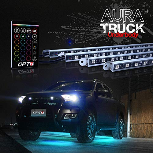 OPT7 Aura 4pc Pickup Truck Underglow LED Lighting Kit w/remote - Soundsync - Full-Color Spectrum - Underbody Rigid Aluminum - 1 Year Warranty