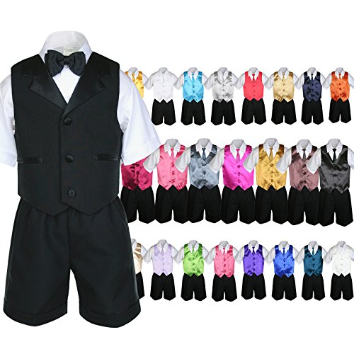 Unotux 6pc Baby Boy Black Formal Bow Tie Shorts Suit Extr...