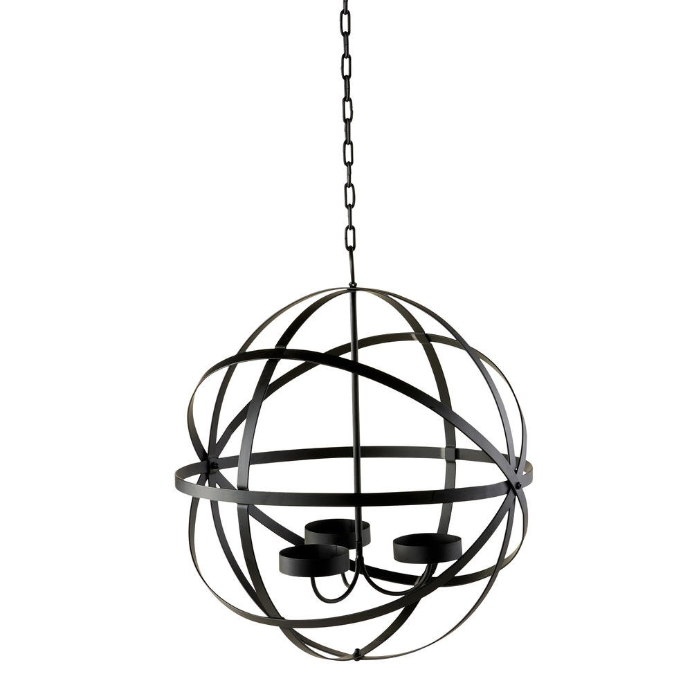 Outdoor Spherical Chandelier Candle Holder Black Steel Provides Lighting and Soft Glow To Outside Space Perfect For Porch Deck Or Patio Light