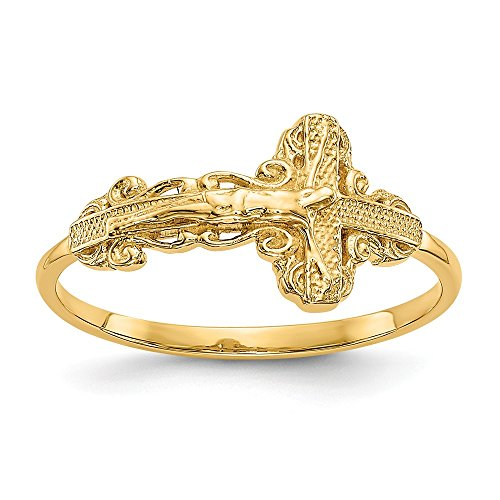 - 14k Yellow Gold Crucifix Cross Religious Band Ring Size 6.00 Fine Jewelry Gifts For Women For Her