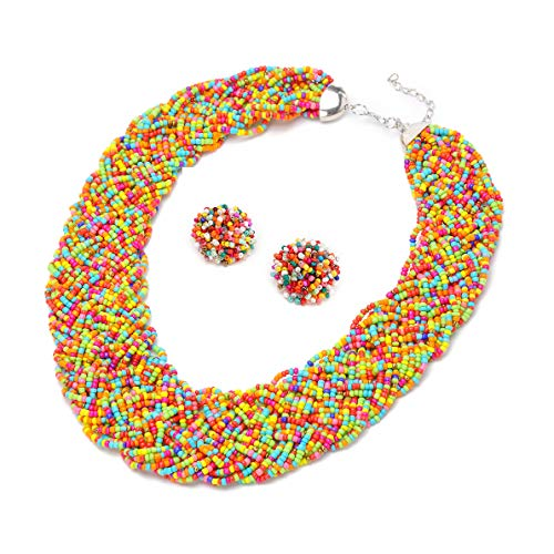 Mozhuo Vintage Multicolor Handmade Beaded Statement Neckalce and Earrings Jewelry Sets for Women Bib Choker Necklace for Bridal Prom ()