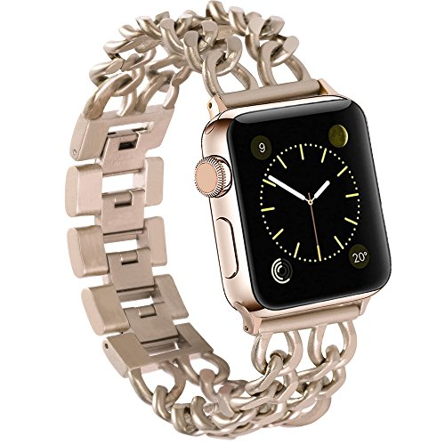 For Apple Watch Band Stainless Steel Metal Bracelet Replacement iWatch Jewelry Wristband Bling Bands for Apple Watch Series 3, Series 2, Series 1, Sport and Edition 38mm Chain Style Gold (Style Bling Watch)