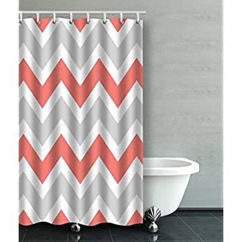 grey and coral shower curtain. Accrocn Waterproof Shower Curtain Curtains Fabric Peach Coral Gray White  Chevron Zigzag Pattern 36x72 Inches Decorative Amazon com Grey Ornate 100 And Red Abstract art shower curtain red black