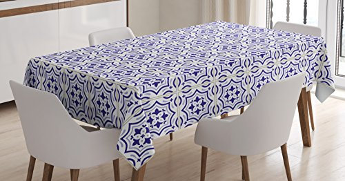 - Ambesonne Navy Blue Tablecloth, Portuguese Tile Design Traditional Azulejo Retro Style Mosaic, Dining Room Kitchen Rectangular Table Cover, 52 W X 70 L inches, Violet Blue Blue Grey Eggshell