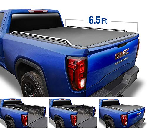 Tyger Auto T2 Low Profile Roll-Up Truck Bed Tonneau Cover TG-BC2C2059 works with 2014-2019 Chevy Silverado / GMC Sierra 1500 2500 3500 HD | Fleetside 6.5' Bed | w/o Utility Track (T2 Pick)