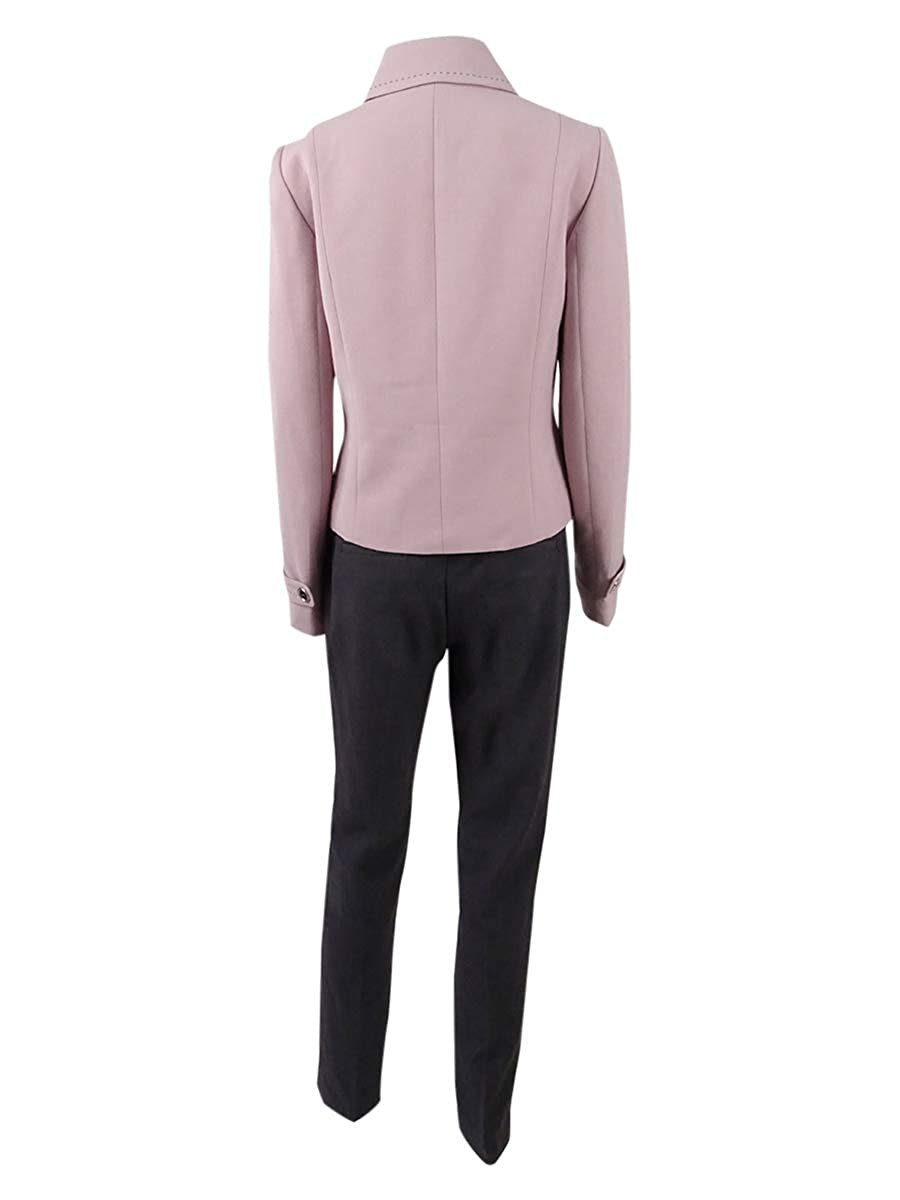 Tahari ASL Womens Zip-Front Stitched Collared Pantsuit 10, Antique Pink//Grey