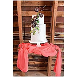 "SoarDream 1 Piece Chiffon Table Runner 27""x120"" Chiffon Fabric Table Overlay Perfect for Romantic Wedding Party Decor Coral"