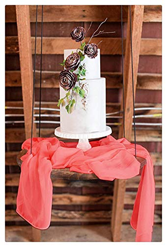 SoarDream Coral Table Runner - 27x120 Inch Sheer Runner for Blush Romantic Wedding Christmas Birthday Party Cake Table Decorations ()