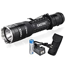 Bundle: EagleTac T25C2 XP-L V5 1250 Lumens 300 Yards Rechargeable Compact LED Tactical Flashlight with Eagletac Rechargeable 18650 Battery and LumenTac Charger - G25C2 T20C2 Upgrade by EagleTac