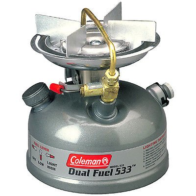Dual Fuel Single (Coleman Sportster II Dual Fuel Single Burner Stove Camping Cooking 533 Model NIB)