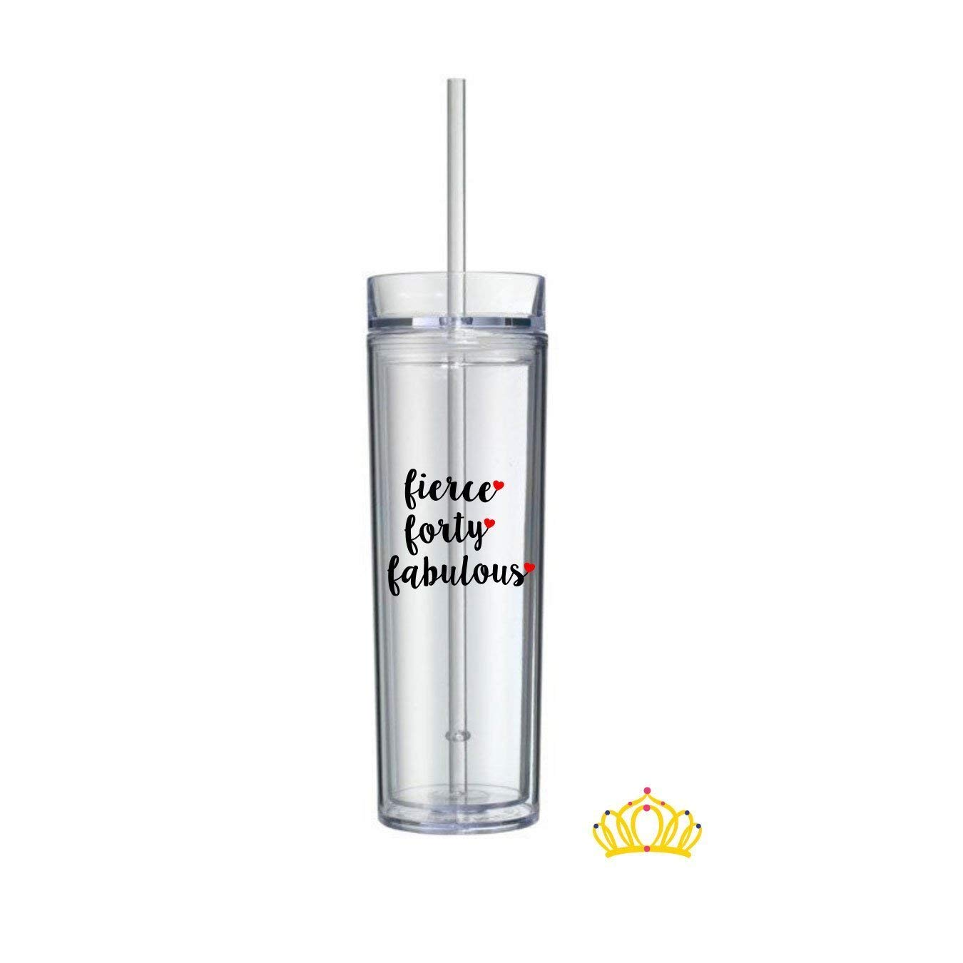 Fierce Forty Fabulous Water Bottle, 40th Birthday Gift for Her - 16 oz, Double Wall, Clear