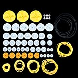EUDAX 2mm Hole Plastic Belt Pulley Gears Combination Modulus Package Rubber Belts Band Plastic Model Accessories for DIY Robots Cars RC Toy Car Airplane