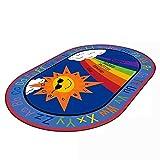 LISIBOOO Cartoon Anti-Skid Kids Area Rugs,ABC with Numbers,Oval Child Large Carpet,for Boys Girls Babies Playroom Bedroom Study Room Nursery Living Room Bathroom (3'3''x5'2'', Sun-Rainbow)