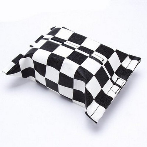 Atonix Black and White Checker Synthetic Leather Skin Matching Style Paper Napkin Tissue Dispenser for Mini Cooper ()