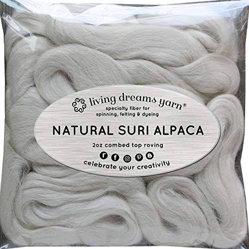 - Suri Alpaca Fiber for Spinning Blending Felting Dyeing and Doll Making. Natural White Combed Top.