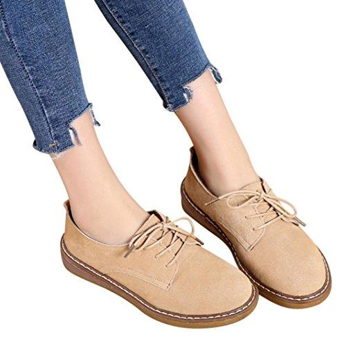 Scarpe Morbido Donne di Signore Cachi Lace Piatto camoscio in Women delle Pelle Caviglia Femminile Stivali Singolo Up Up SOMESUN Boots Lace xYwSOfqn70