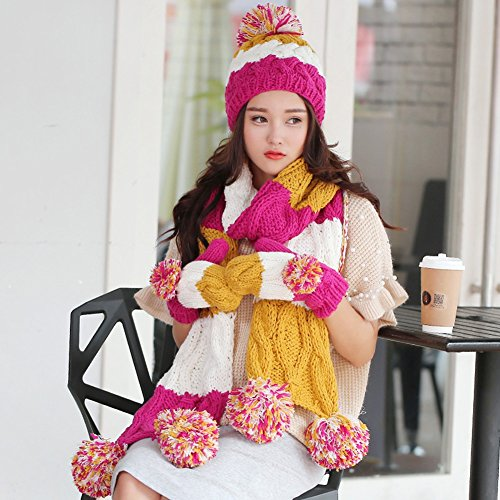 eddf5607abb Amazon.com  PENGFEI Scarf Hat Gloves 3-Piece Set Winter Knitting Student  Add Flannel Women s 5 Colors 200x20CM (Color   1 )  Garden   Outdoor