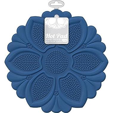 Talisman Designs No-Slip Grip Hot Pad, Pot Holder & Trivet, BPA-free Silicone, Royal Blue, 7.5  Diameter
