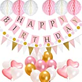 Birthday Party Decorations Supplies, Acetek Happy Birthday 13 Letters Banner Flags, 17 Balloons,15 Triangle Bunting Flags, 6 Tissue Paper Pompom Balls, 400cm String Polka Dot Garland for Girls