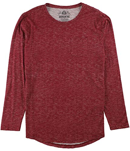 Price comparison product image American Rag Mens Heathered Long Sleeves Casual Shirt Red S