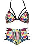 Shangrui Women National Style Bandage High waist Bikini Tankinis Swimsuit