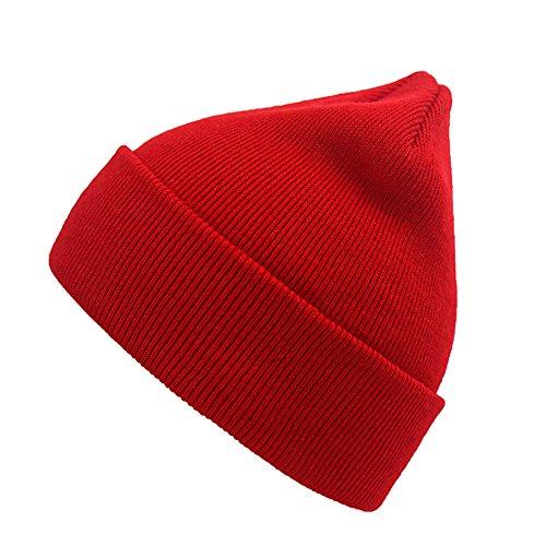 Beanie Hat NINE BULL Unisex Winter Warm Knitting Hats Daily Slouchy Beanie Hat Skull Cap (red) (Skull Red Cap)