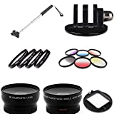 SAVEoN Extendable Monopod w GoPro Mount/10 PC Filters & Lens Kit fits Hero 4 58MM