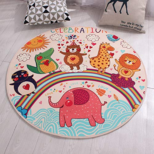 ASO-SLING Round Cartoon Area Rug Decorative Carpet Chair Baby Crawling Play Mat Non-Slip Parlor for Living Room Home Decoration