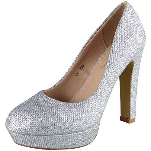 Damen Funkeln Hoch Hacke Plattform Party Gericht Schuhe Größe 36-41 Silber