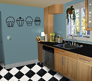 4 Cupcakes Kitchen Nursery Vinyl Wall Art Decal Sticker Decor