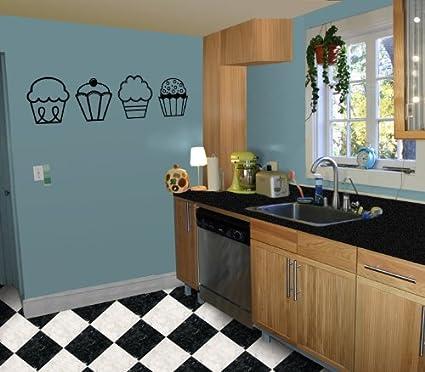 4 Cupcakes   Kitchen / Nursery Vinyl Wall Art Decal Sticker Decor