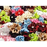 YAKA 50pc Satin Nine Plus Drill Ribbon Flowers with Appliques Craft Diy Wedding