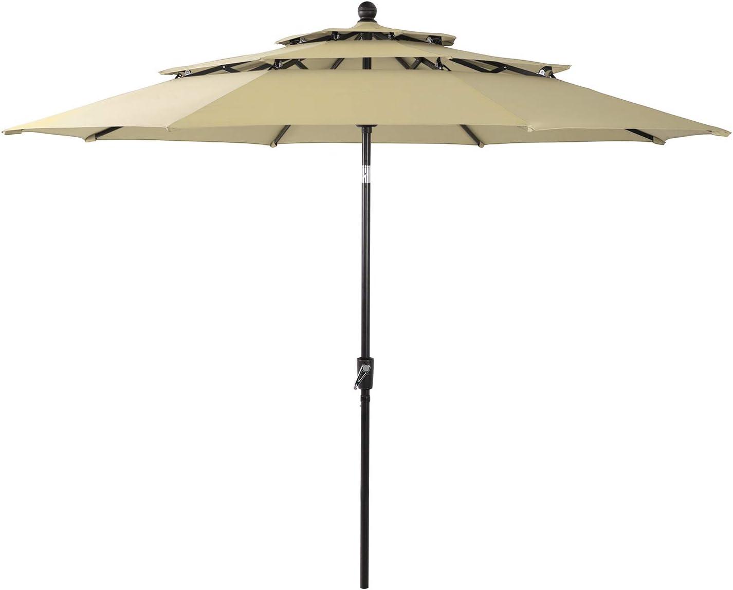 Sophia & William 10ft 3 Tier Auto-tilt Patio Umbrella Outdoor Double Vented Umbrella with Crank,Beige