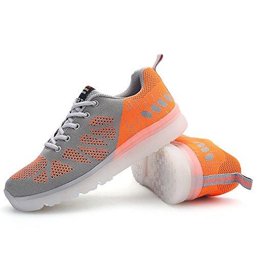 2016 verano nuevos zapatos de los hombres respirables, zapatos de deporte, zapatos de punto, géneros esenciales de luz de colores LED de cosas naranja