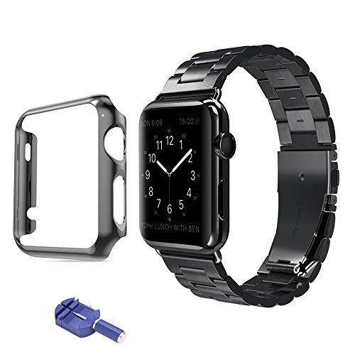 (Iwatch Bands 38mm 42mm,Sundo Solid Stainless Steel Metal Replacement Strap with Adapter Accessories removal tool for Apple Watch Series 1(Black 38+case))