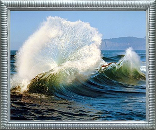 Framed Wall Decoration Crashing Wave Ocean Scenery Nature Silver Framed Picture Wall Art Print (20x24)