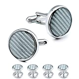 HAWSON Carbon Fiber Cuff links and Tuxedo Studs Set for Men Business Wedding