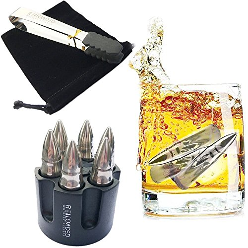 Whiskey Bullet Stones Set of 6 with REVOLVER FREEZER BASE AND FULL KIT- Extra Large Bullet Shaped Drink Chiller, Bourbon, Whiskey Lovers, Unique Gift for Birthday, Wedding Day and Parties.