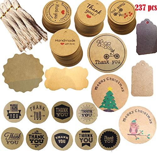 Gift Tags with String 180 Pcs Kraft Paper Tags Blank Diygift Tags+57 Sealing Stickers Merry Christmas Blank Stickers for Kraft Paper Sealing Stickers,Biscuit,Candy Bags, Baking Packaging Decoration.