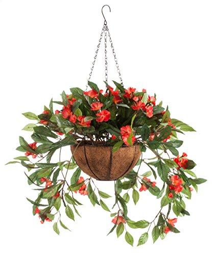 Fully Assembled Impatiens Hanging Basket – Large Artificial Flower Outdoor or Indoor Decoration with Hook - Orange