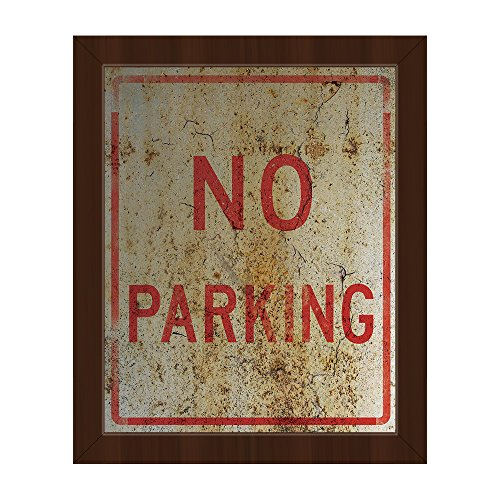 No Parking Weathered: Industrial Indoor Street Sign in Black & Red on Rusty-pattern Wall Art Print on Canvas with Espresso Frame
