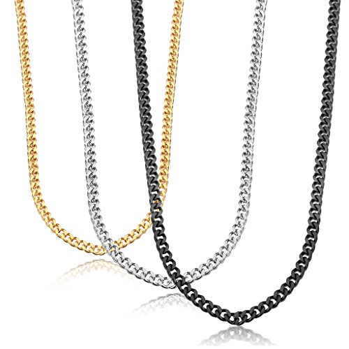 Jstyle Stainless Steel Link Curb Chain Necklace for Men Women 3 Pcs 3.5mm ()
