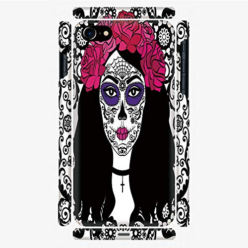 Phone Case Compatible with 3D printed iPhone 7/iPhone 8 diy fashion picture,Sugar Skull Make Up Dia De Los Muertos Traditional,Personalized Designed Hard Plastic Cell Phone Back Cover Shell -