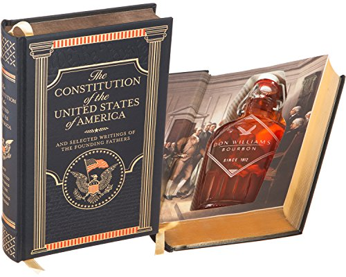 Flask Hollow Book - The Constitution of the United States of America (Leather-bound) (Magnetic Closure) (Custom-Etched)