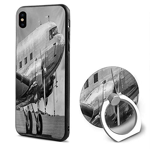 Creator Propeller - Vintage Airplane iPhone x Cases,Old Airliner Cockpit Antique Engine Propellers Wings and Nostalgia Image Grey Black,Mobile Phone Shell Ring Bracket