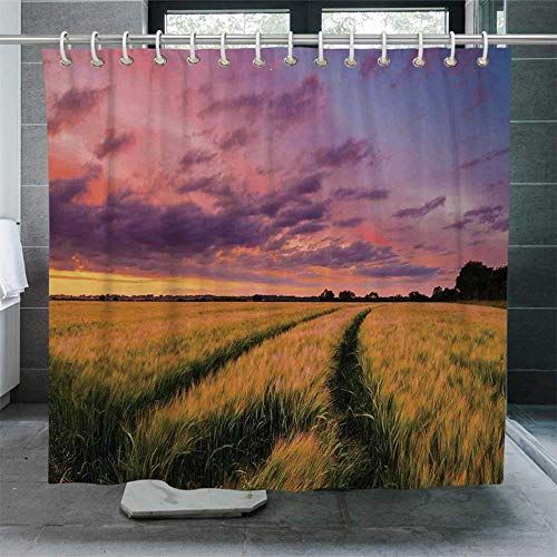 ALUONI Farm House Decor Quick Drying Shower Curtain,Flowing Crop at Sunset Morning in Nature Countryside Style Cloudscape Scene Print Bathroom Curtain with Hooks,72